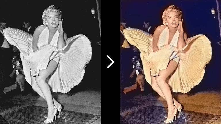Marilyn Monroe colorized with Deep Art Effects Pro for Desktop
